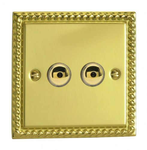 Varilight IJGI102 Georgian Polished Brass 2 Gang 1-Way Remote/Touch Master LED Dimmer 0-100W